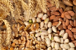 Mix of nuts close up