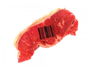 Steak with a barcode